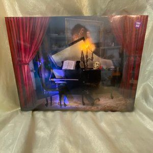 Halloween LED & Sound Haunted Piano Canvas Wall